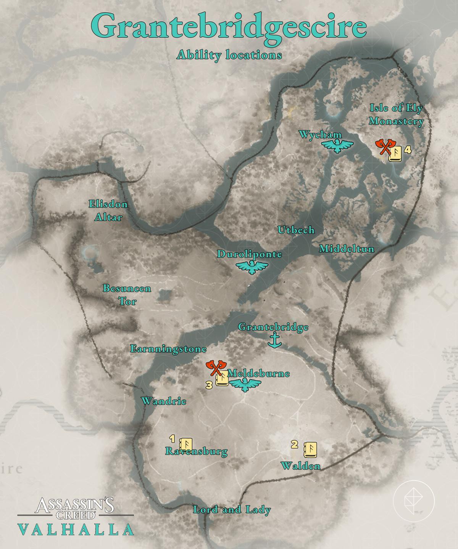 Grantebridgescire Ability locations map