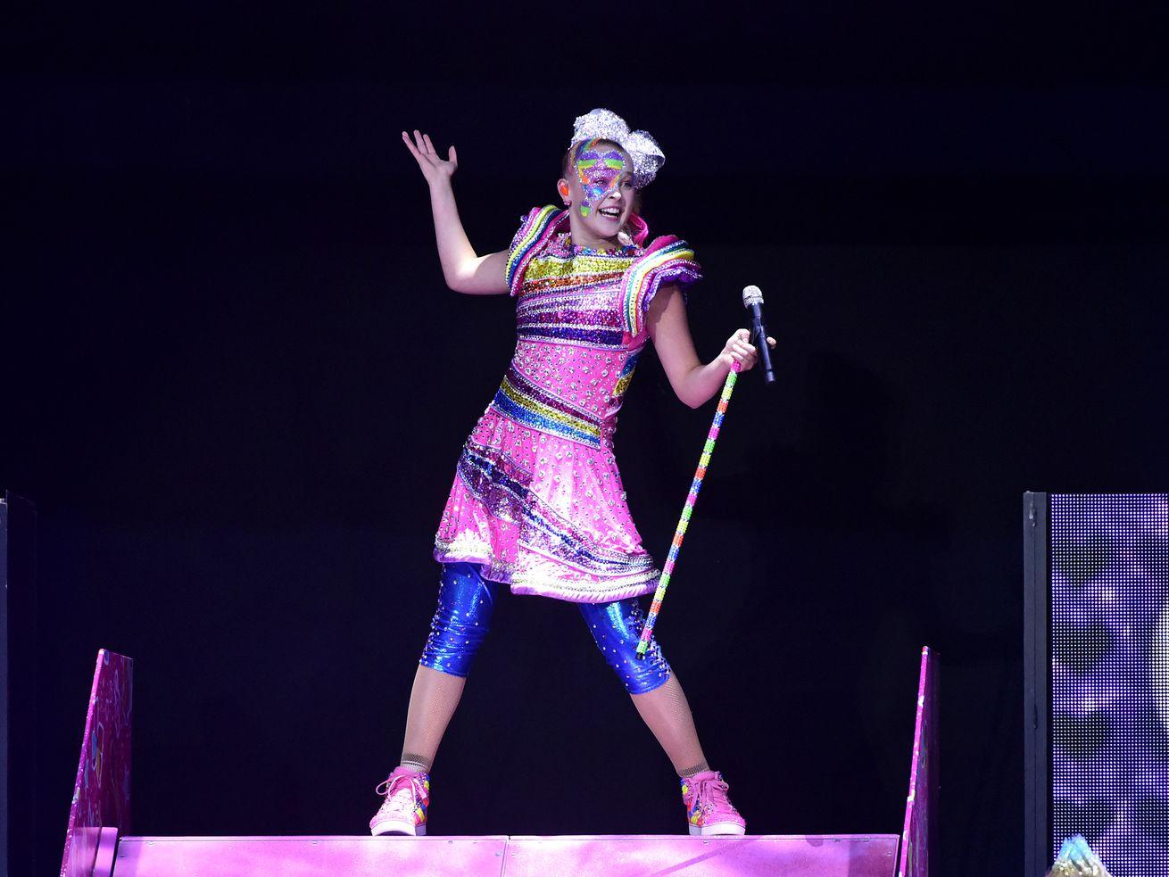 Singer JoJo Siwa performs at the Honda Center on in 2019 in Anaheim, California.