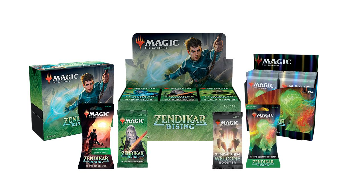 A collection of Magic: The Gathering products with Zendikar branding.