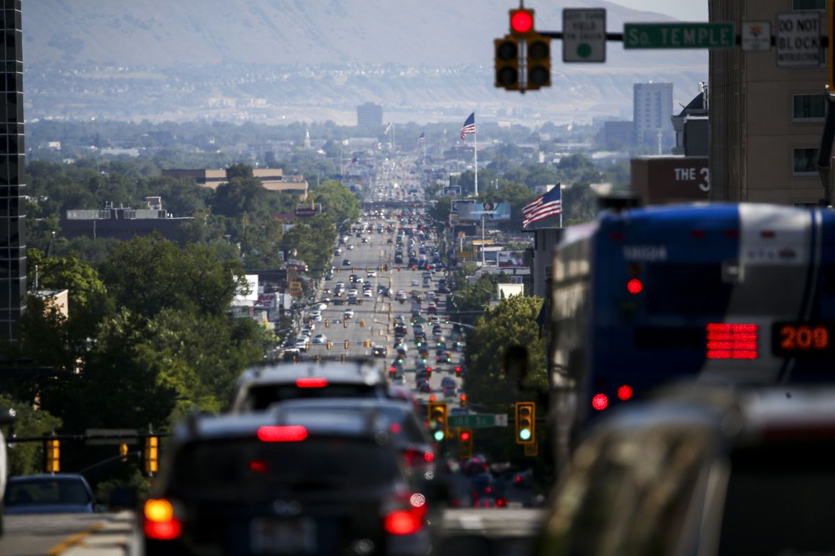 Bumper-to-bumper traffic heads south on State Street during rush hour in Salt Lake City on Friday, Aug. 2, 2019.