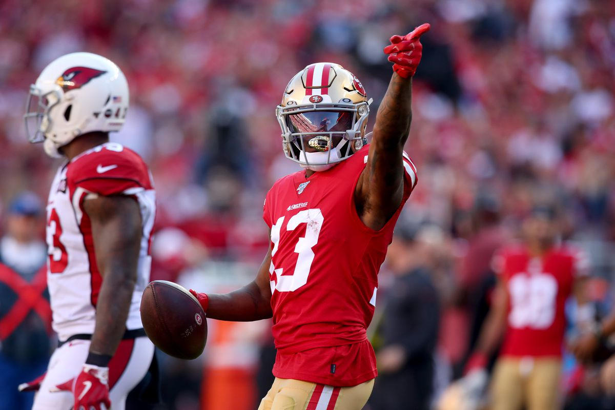 San Francisco 49ers wide receiver Richie James reacts after catching a pass for a 57 yard gain against the Arizona Cardinals in the second quarter at Levi's Stadium.
