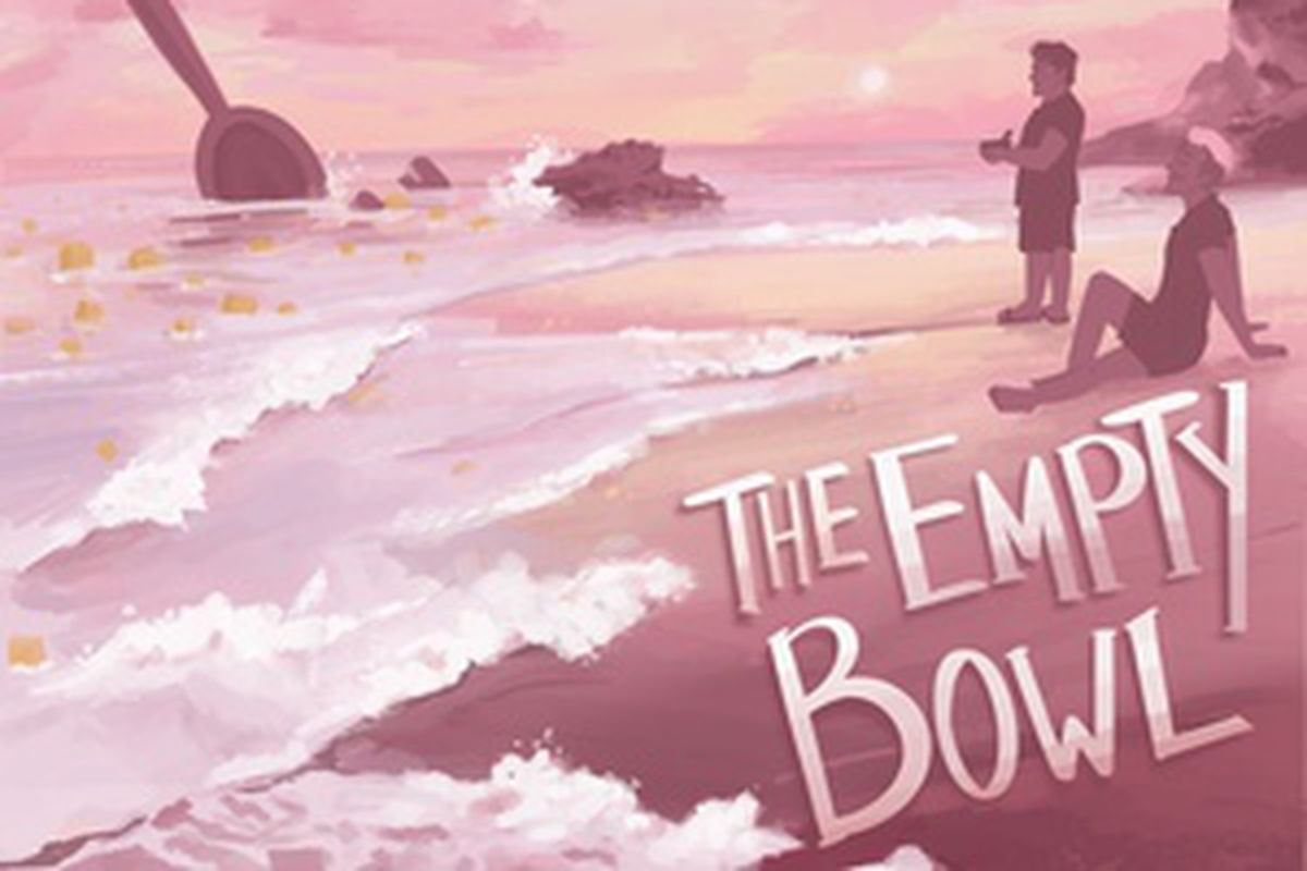 An illustration of a beach in tones of pink and orange. Justin Mcelroy is standing looking at the ocean with a bowl of cereal in his hands. Dan Goubert is sitting on the beat with his eyes closed. There's a giant spoon sticking up in the ocean and giant pieces of cereal floating in the water.