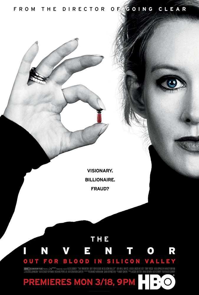 Elizabeth Holmes in the poster for Alex Gibney's new film The Inventor: Out for Blood in Silicon Valley, which airs on HBO on March 18.