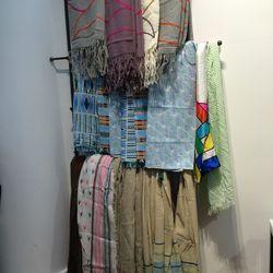 Alpaca shawls and cotton scarves