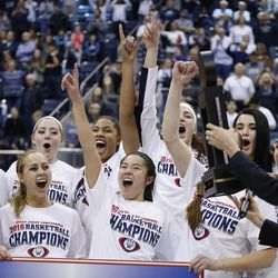 Brigham Young Cougars celebrate their win over the San Diego Toreros in Provo Thursday, Feb. 18, 2016. BYU won 68-60 and won the West Coast Conference championship.