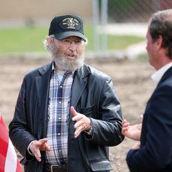 Ron Mortensen, a Vietnam-era veteran, talks with Rep. Chris Stewart, R-Utah, at the groundbreaking for the Bountiful Veterans Parkin Bountiful on Tuesday, May 26, 2020.