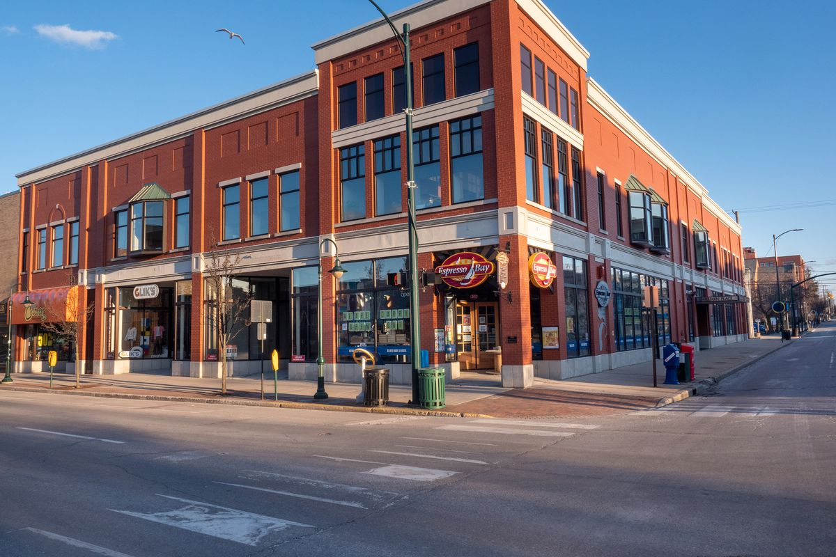 Downtown Traverse City looks empty with many stores and restaurants being closed because of the COVID-19 pandemic.