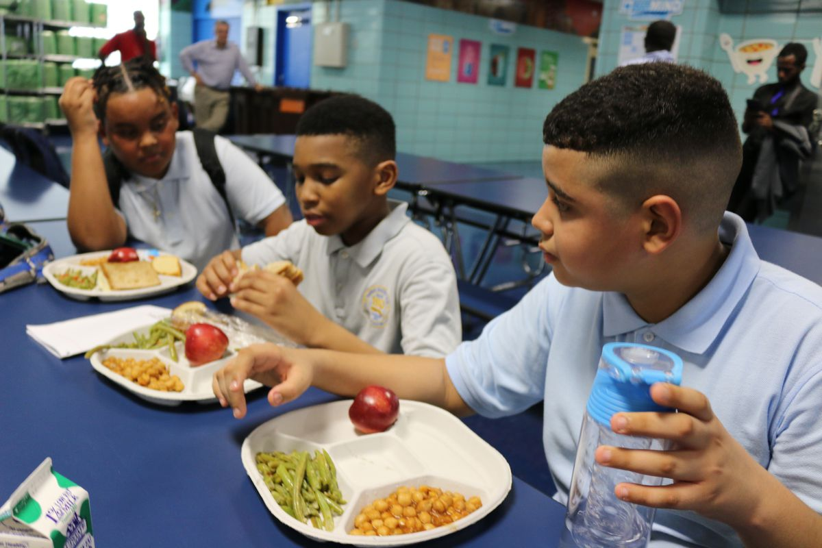 Students at P.S./I.S. 180 in Harlem have lunch on the first day of the 2018-2019 school year.