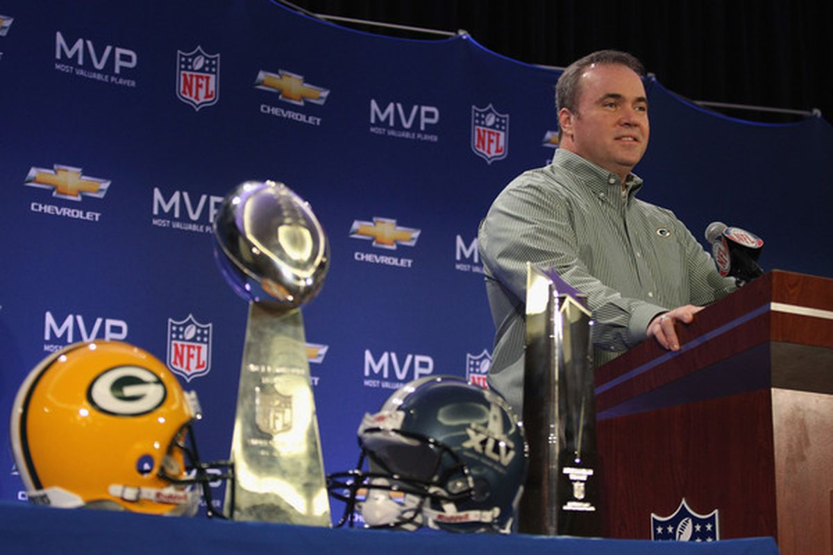 DALLAS TX - FEBRUARY 07:  Mike McCarthy has been rewarded with a pay cut after winning the Super Bowl.  (Photo by Streeter Lecka/Getty Images)