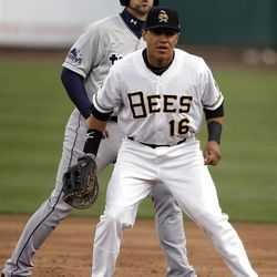 Bees first baseman Efren Navarro fields as the Salt Lake Bees open the season at home  in Salt Lake City  Friday, April 13, 2012.