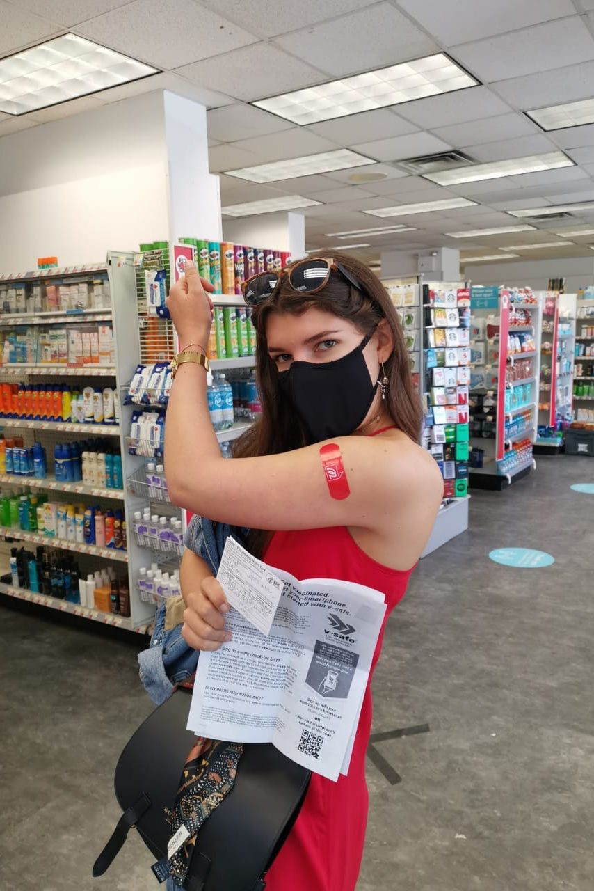 Marie Louise Bonnet gets her second dose of the Pfizer vaccine at a Harlem Walgreens in May.