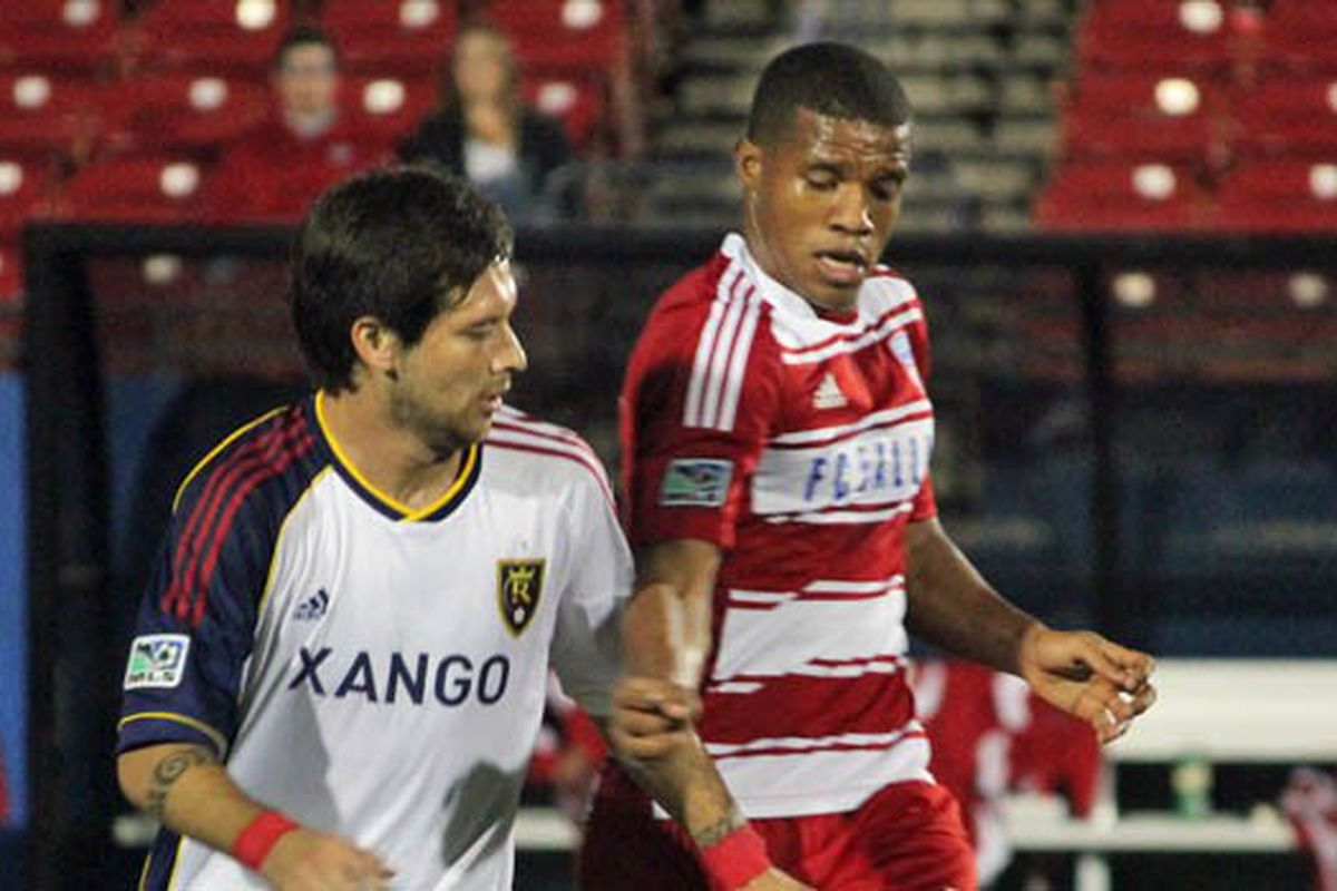 Luis Perea's one big game, a reserve feature against RSL. (Photo via FCDallas.com)