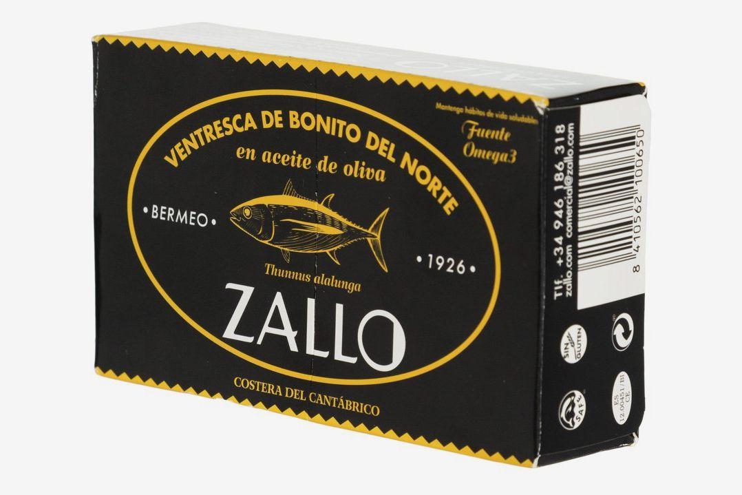 A box of Zallo tinned fish