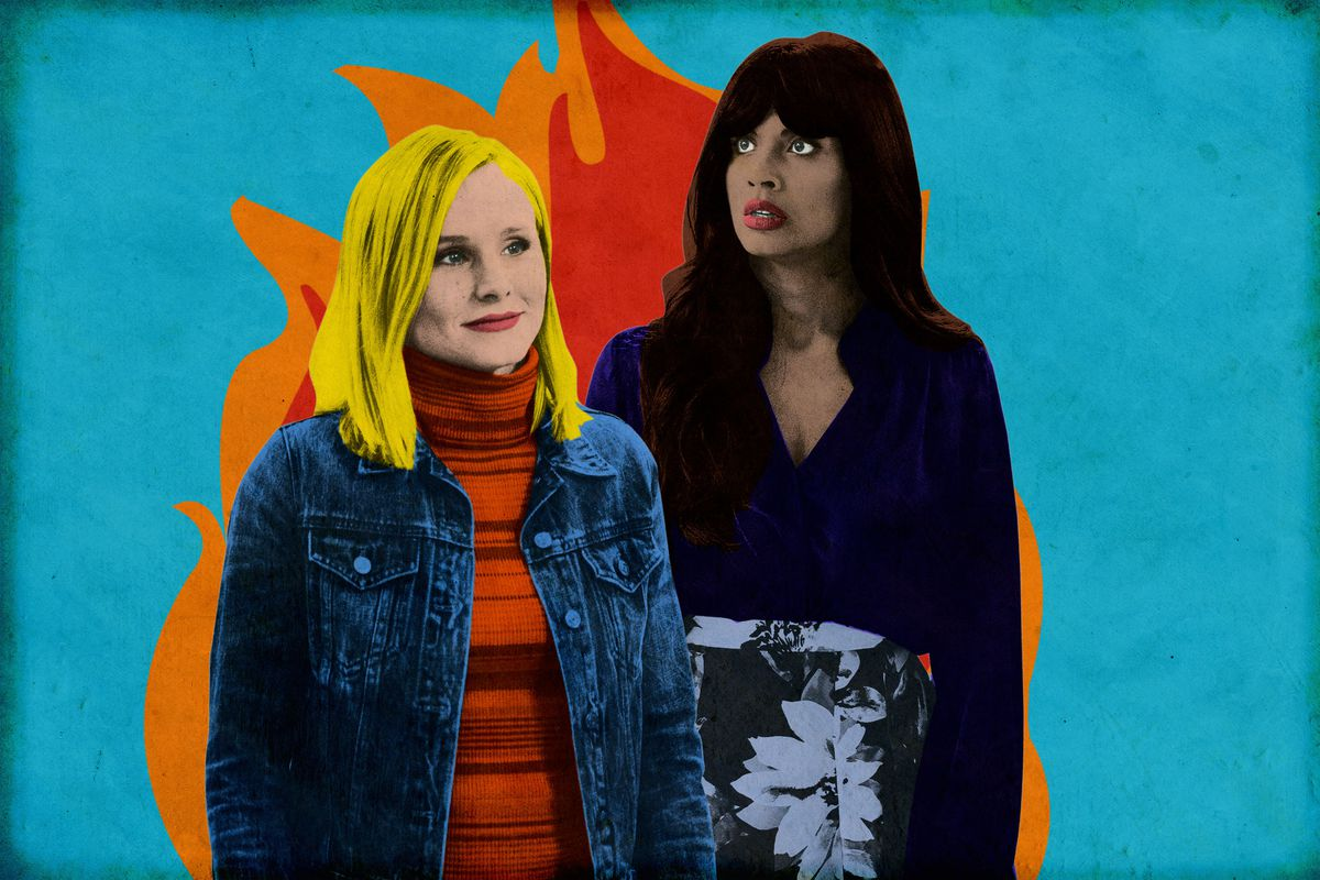 Eleanor and Tahani of 'The Good Place' standing in front of an illustration of fire