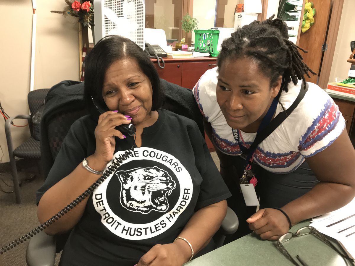 When students leave Detroit's Bethune Elementary-Middle School, school secretary Sherry Taylor, left, and attendance agent Myrna Capela are the ones who make sure they're safe.
