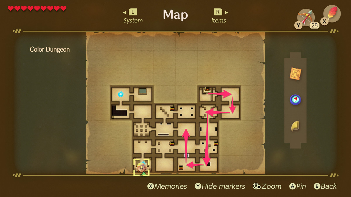 Link's Awakening Color Dungeon path to the Dekudon mini-boss fight