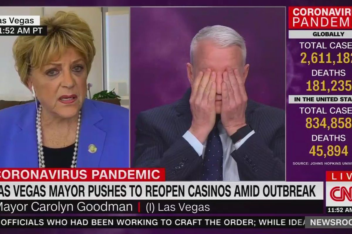 Las Vegas Mayor Carolyn Goodman and CNN host Anderson Cooper
