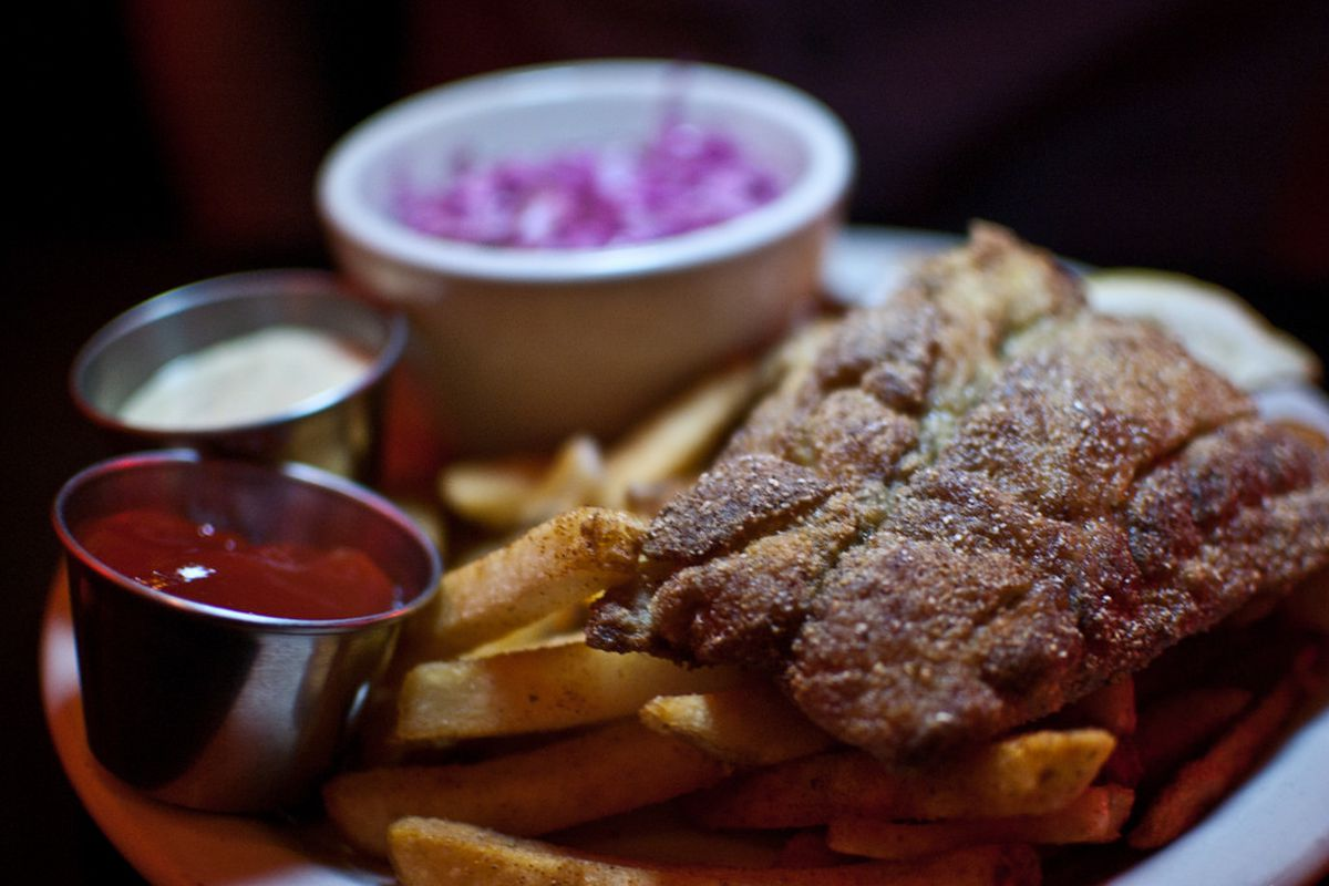 Bluefish and Old Bay fries at Thee Red Fez in Providence