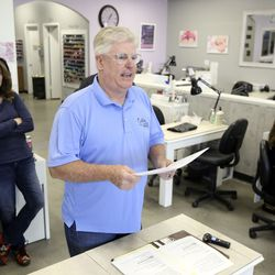 Doug Jardine, owner of Color My Nails in Midvale, talks about the struggles small-business owners face due to the COVID-19 pandemic during a press conference at his salon on Wednesday, March 25, 2020. Jardine hopes landlords will help their small-business tenants.