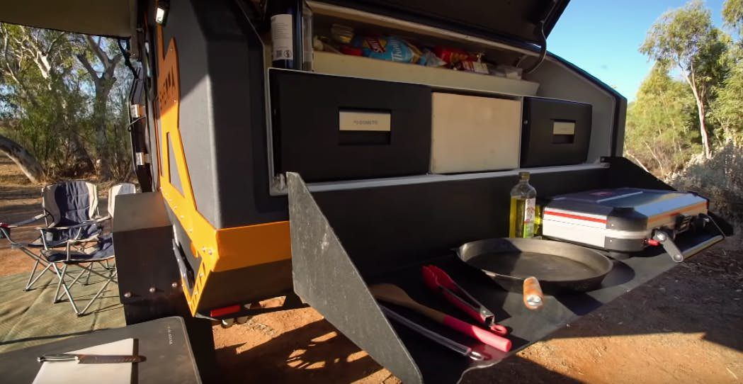 Off-road camper trailer tackles any terrain and sleeps four