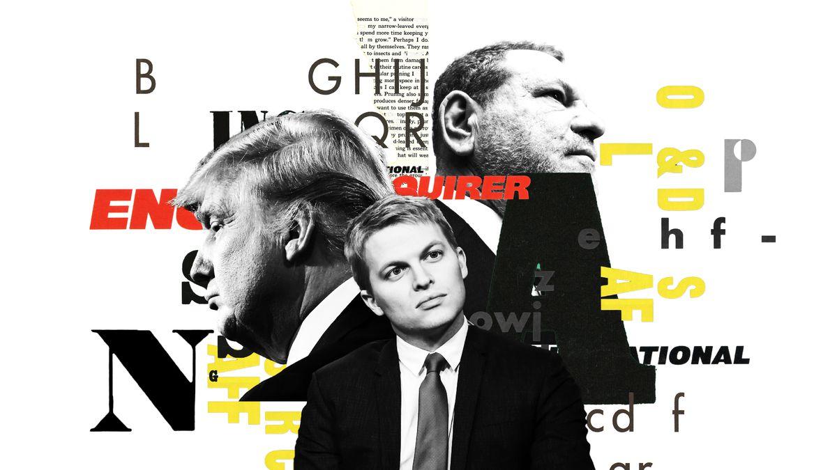 An illustration featuring President Donald Trump, Ronan Farrow, and Harvey Weinstein.