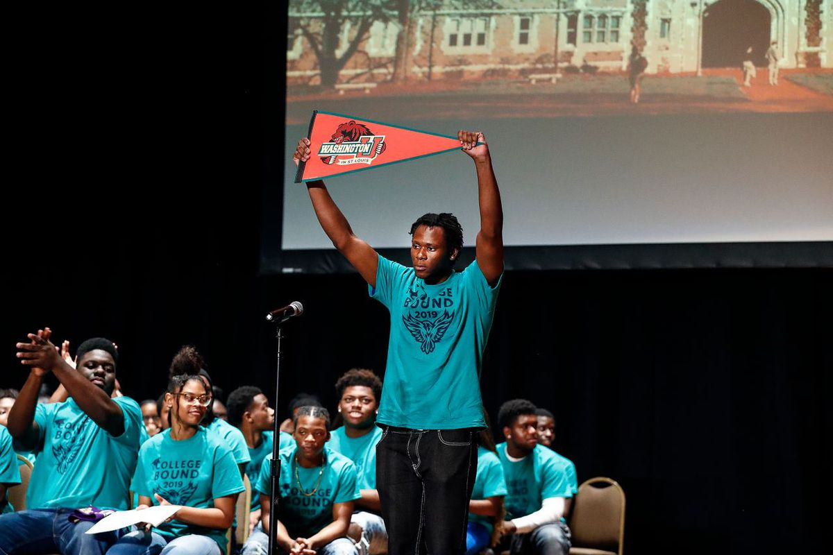 KIPP Memphis Collegiate High School senior Roy Webster announces that he will be attending college at Washington University in St. Louis during the school's Decision Day 2019 at The Cannon Center.
