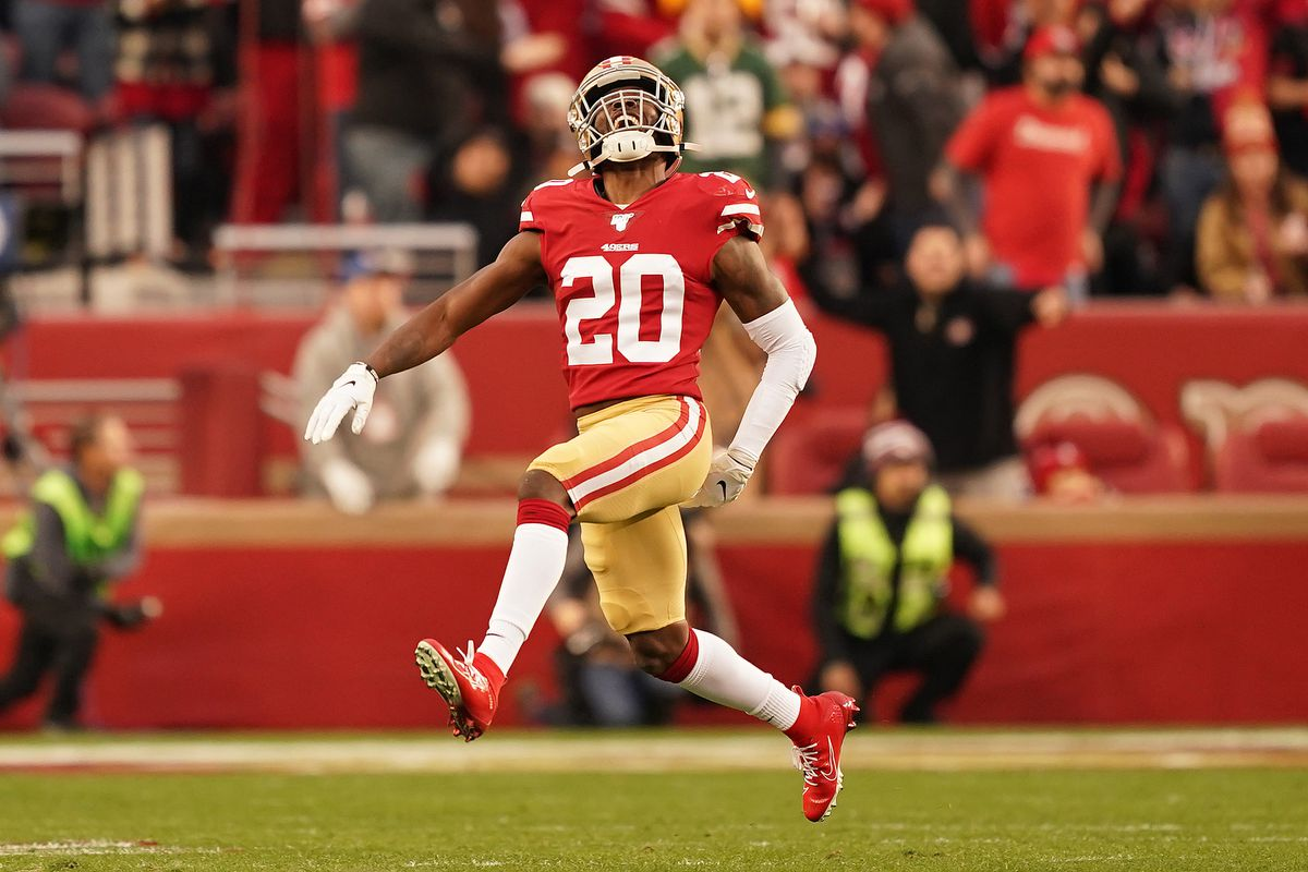 Jimmie Ward of the San Francisco 49ers reacts to a play in the first half against the Green Bay Packers during the NFC Championship game at Levi's Stadium on January 19, 2020 in Santa Clara, California.