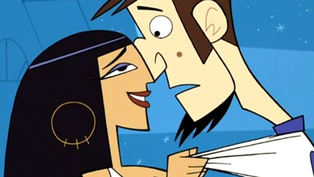 Cleopatra embraces Abe in the first episode of Clone High.