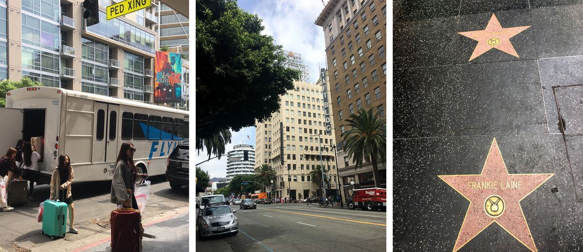 A series of photos depicting a bus journey. There are people with luggage next to a parked bus, a street in Los Angeles, and stars on the Hollywood Walk of Fame.