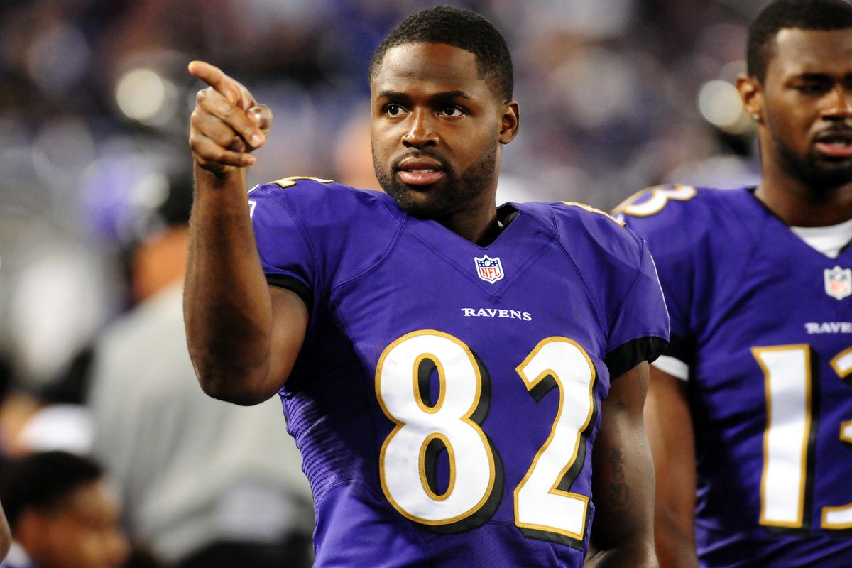 Ravens' WR Torrey Smith pointing to fans during the preseason game against the Atlanta Falcons.