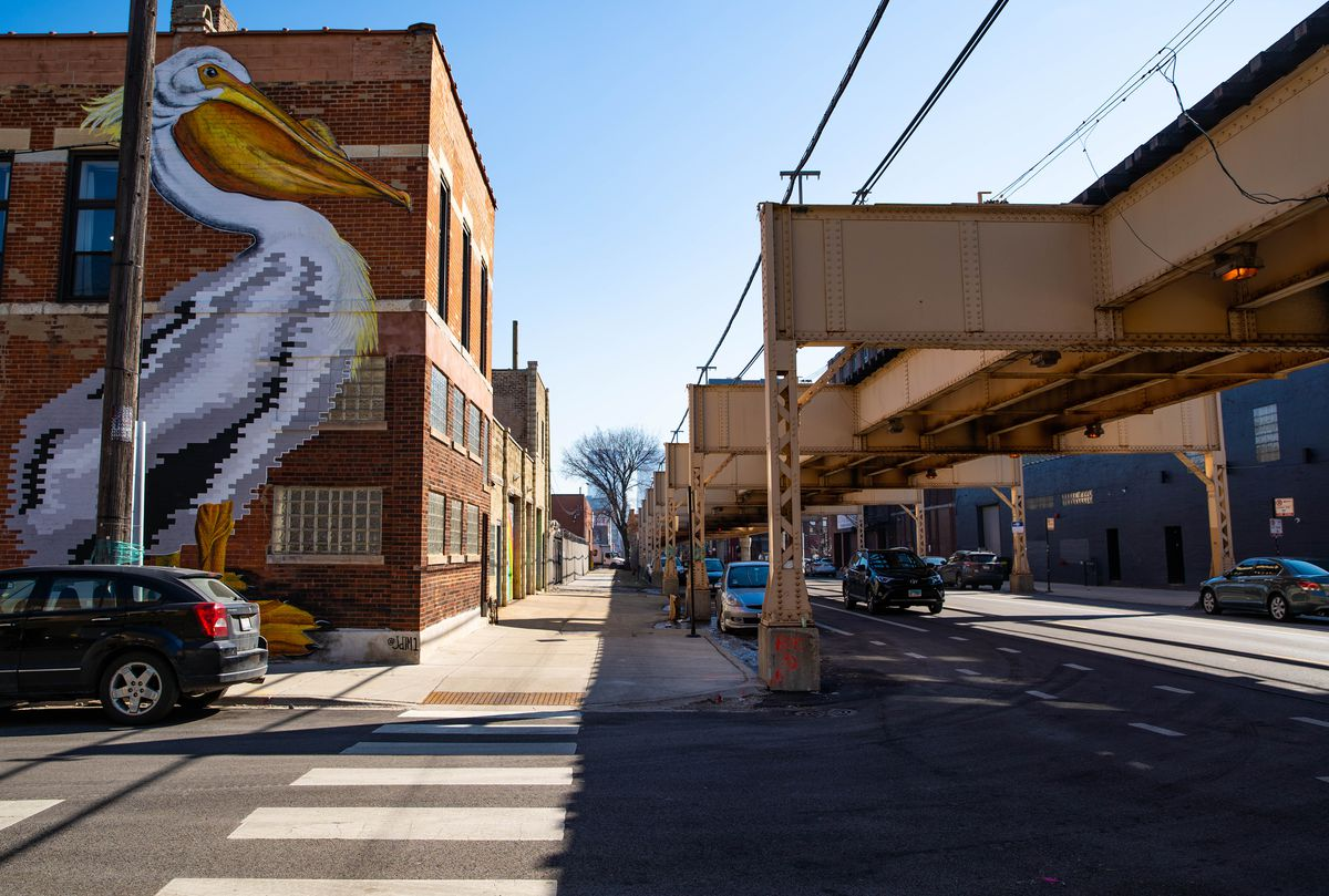This mural of a pelican greets passers-by at Lake and Laflin streets in the West Loop. It was completed by Juan De La Mora in 2017.
