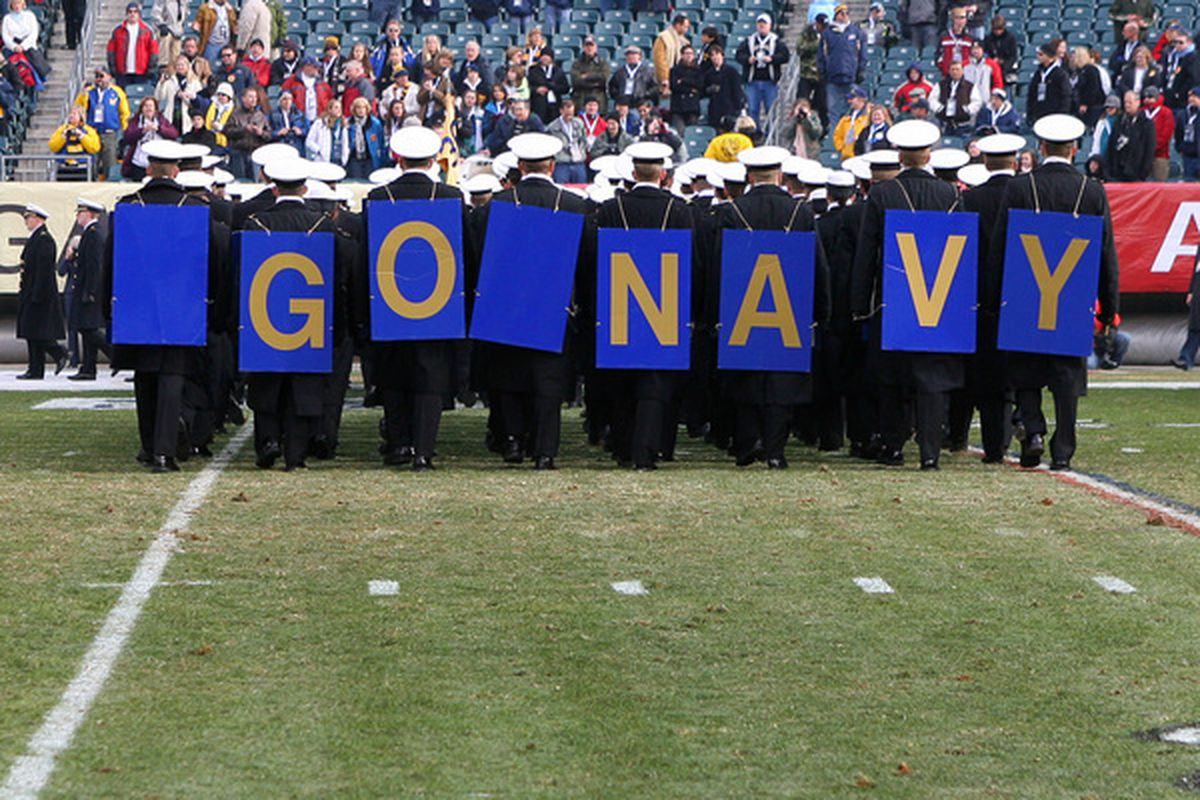 PHILADELPHIA - DECEMBER 11: The Navy Midshipmen march off the field before the game against the Army Black Knights on December 11 2010 at Lincoln Financial Field in Philadelphia Pennsylvania. (Photo by Hunter Martin/Getty Images)