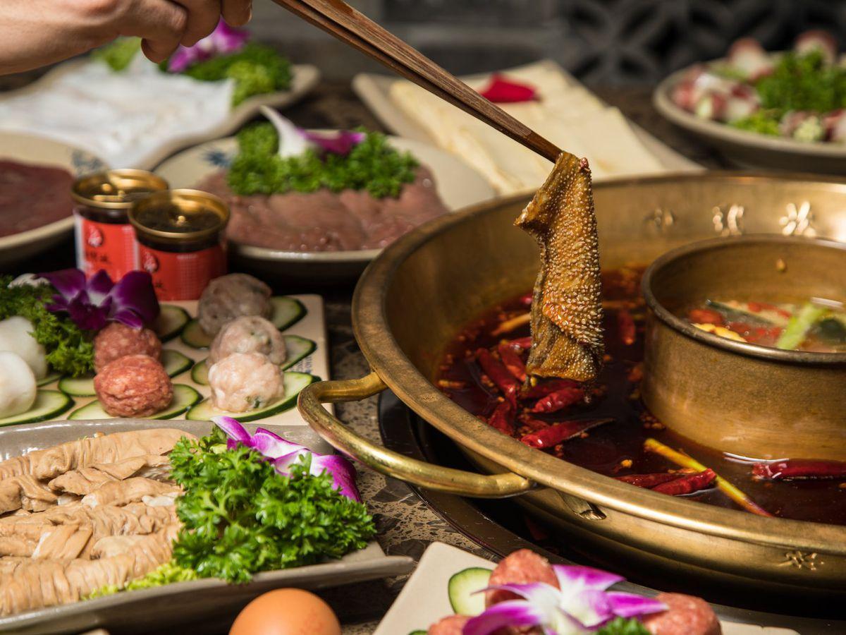 Tripe cooked in a communal hot pot.