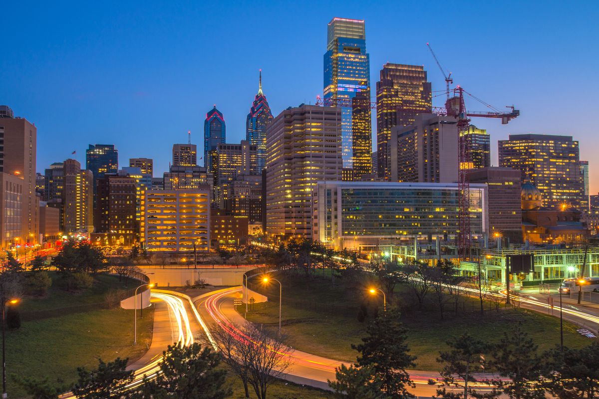 A night view of the Philly skyline from Vine Street expressway.
