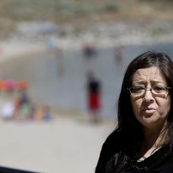 Lucinda Campbell speaks to reporters during a Utah Department of Transportation and Sleep Smart Drive Smart media briefing at Blackridge Reservoir in Herriman on Wednesday, June 14, 2017. Campbell's son, Tyler Blias, and his friend both died almost seven years ago after Blias' friend fell asleep while driving home from a summer trip to the Grand Canyon.