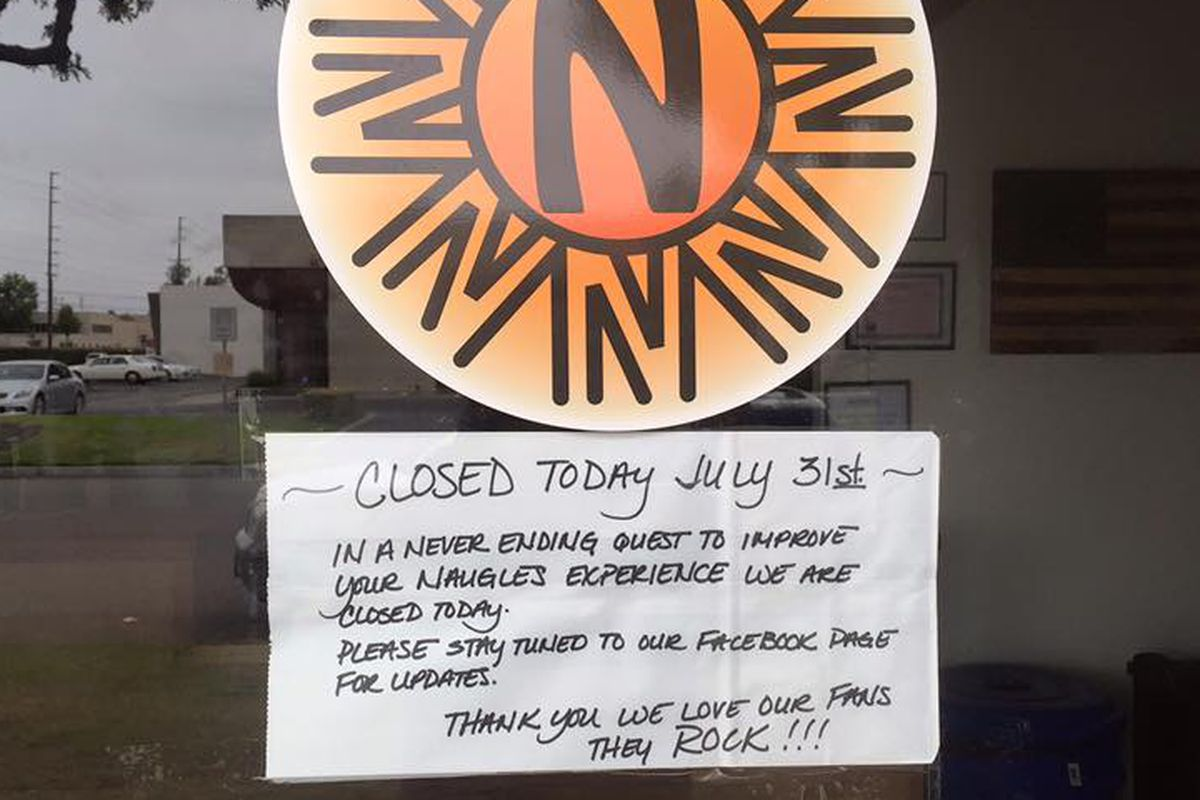 Closed signage from Naugles in July