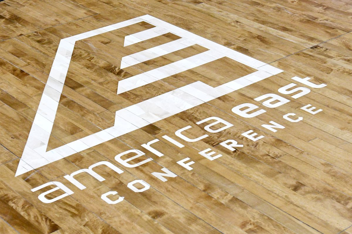 American East Conference logo on the floor before a college basketball game between the Vermont Catamounts and the UMBC Retrievers at the Event Center on February 21, 2019 in Catsonsville, Maryland.