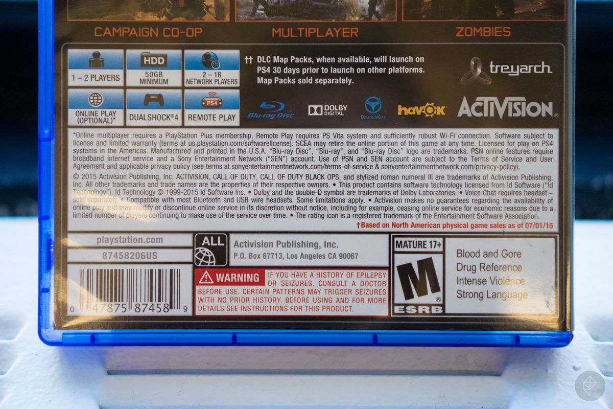 close-up of game information section on back of box of Call of Duty: Black Ops 3 for PS4