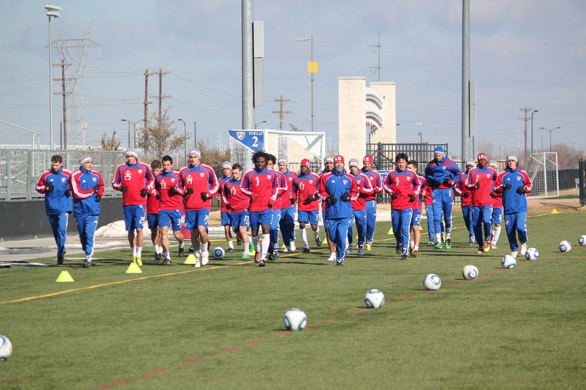 FC Dallas trains outdoors for the first time this preseason. (Photo via FC Dallas)