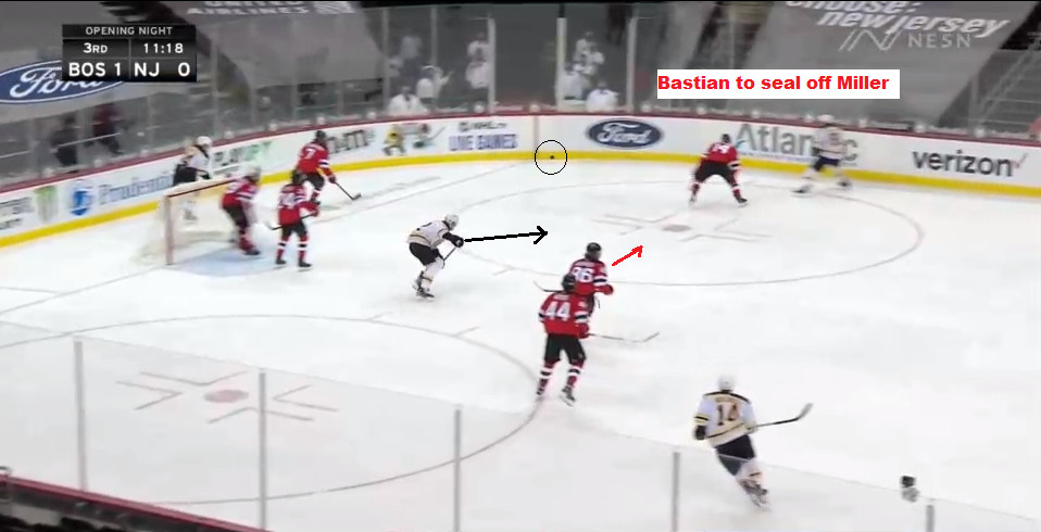 Part 3: Miller pinches in and Bastian is about to meet him to deny him the puck.