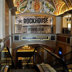 A view of the plywood for Rockhouse, coming soon to the Venetian.