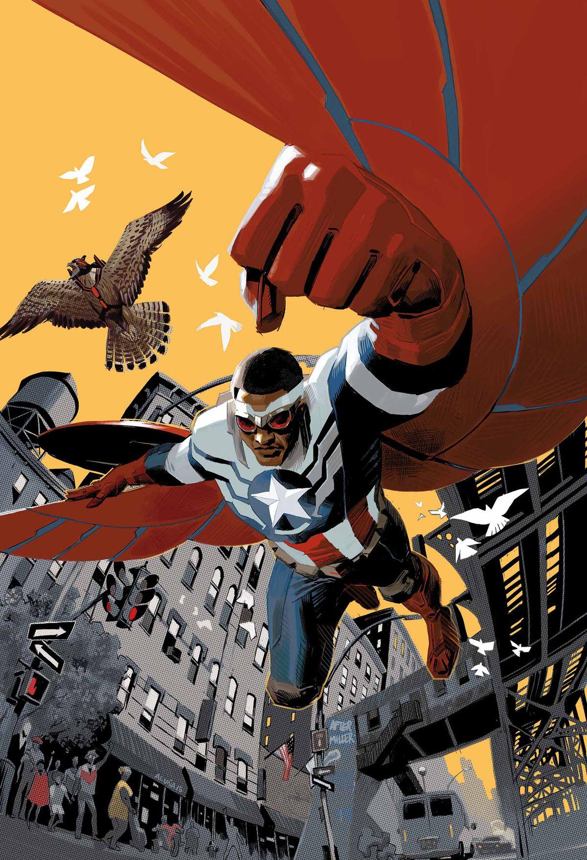 Sam Wilson / le Falcon dans le rôle de Captain America en couverture de Captain America: Sam Wilson n ° 1, Marvel Comics (2015).