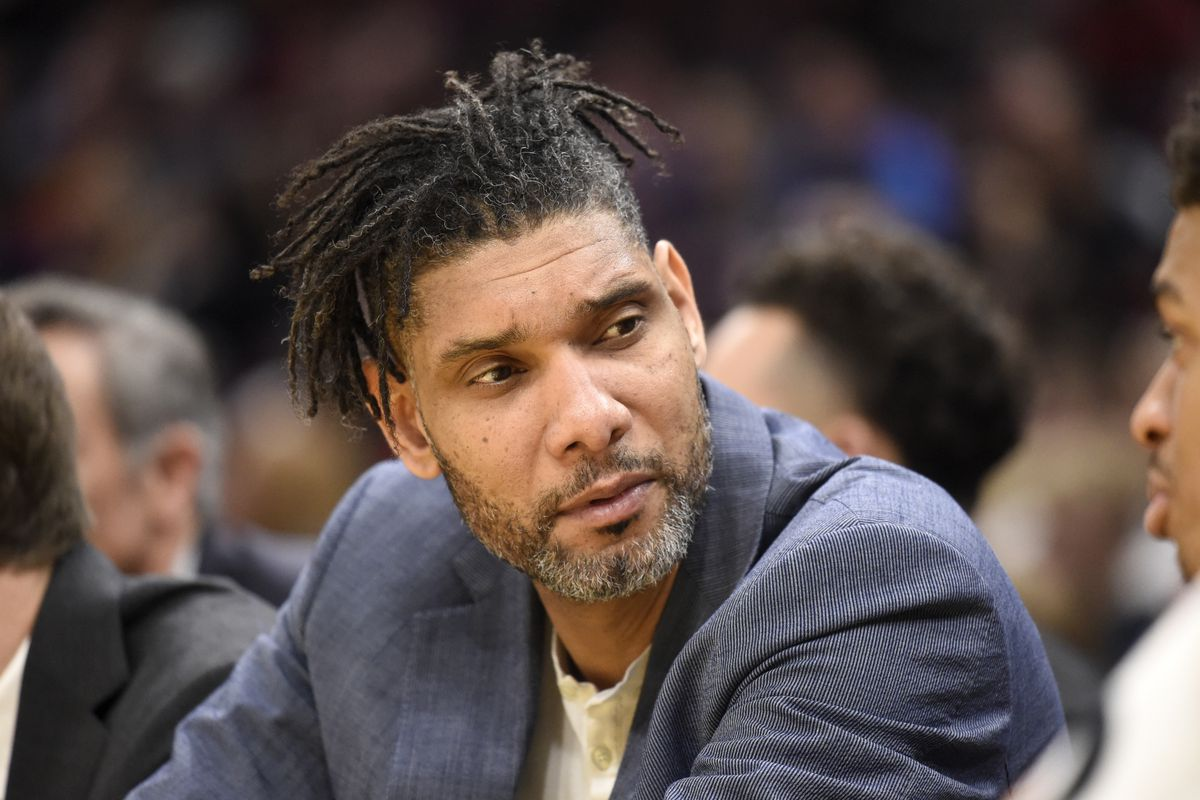 Assistant coach Tim Duncan of the San Antonio Spurs talks to his payers during the second half against the Cleveland Cavaliers at Rocket Mortgage Fieldhouse on March 08, 2020 in Cleveland, Ohio.