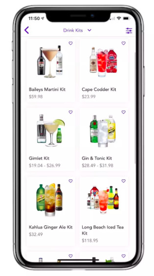 A phone is isolated on a white background. A liquor delivery app is visible on the phone screen, with a selection of cocktail kits available for purchase.