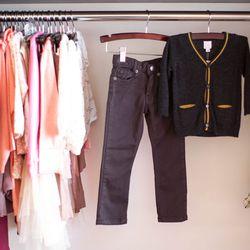 """ESP No. 1 skinny jeans, <a href=""""http://www.honeyintherough.com/ESP-no.-1-Coal-Skinny-Jeans.html/?"""">$60</a>; C de C cardigan, <a href=""""http://www.honeyintherough.com/C-de-C-Faon-Boys-Cardigan.html/?"""">$65</a>"""