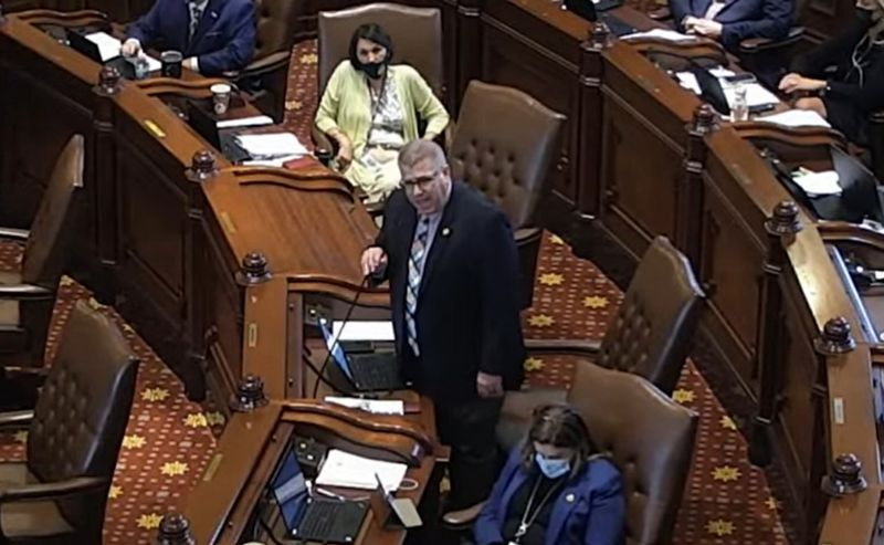 """State Sen. Darren Bailey denounces Democrats for pushing """"perversion in our schools"""" during floor debate on Thursday."""