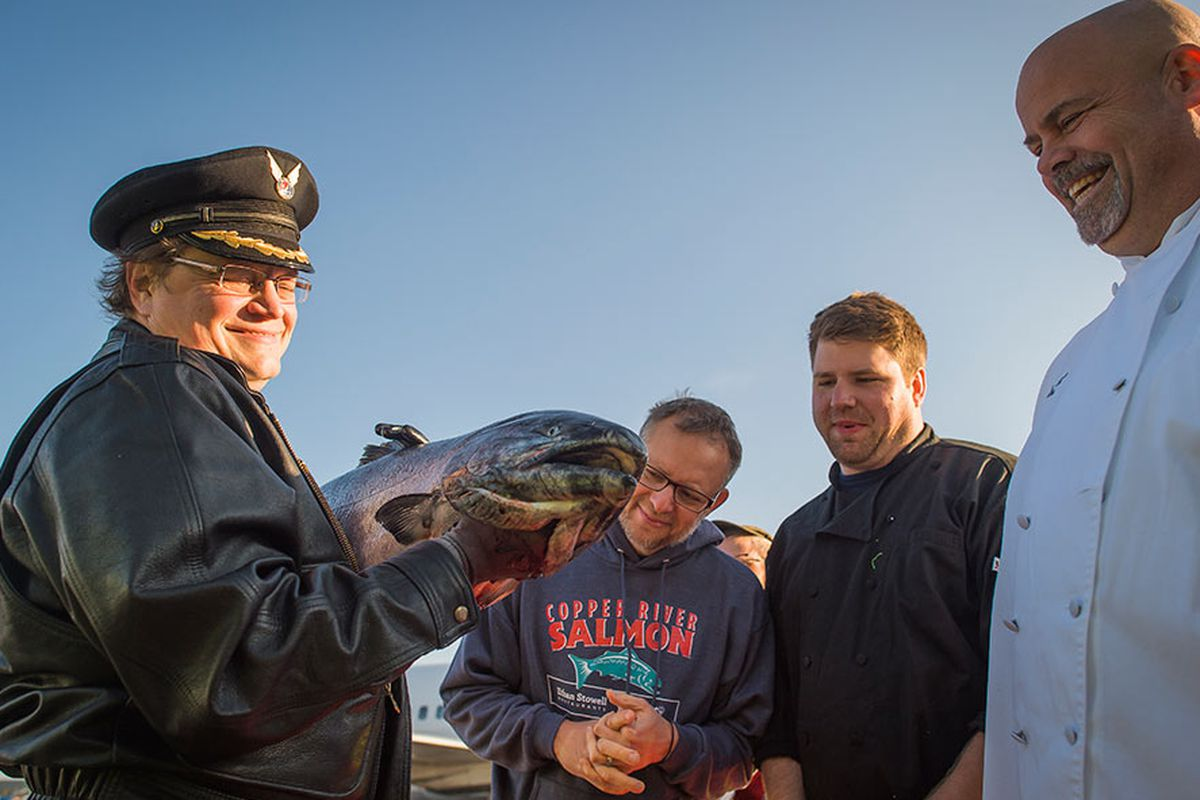 An Alaska Airlines pilot delivers the first of the season's Copper River salmon to Seattle.