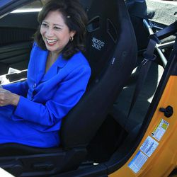 U.S. Secretary of Labor Hilda Solis smiles as she hears the engine of a 2013 Boss 302 Mustang at the Flat Rock Assembly in Flat Rock, Mich., Monday, Sept. 10, 2012. The plant, formerly known as AutoAlliance International will continue to produce the Mustang and add the Fusion next year. Flat Rock Assembly will be the U.S. producer of the Fusion, employing 2,900 workers on both vehicle lines.