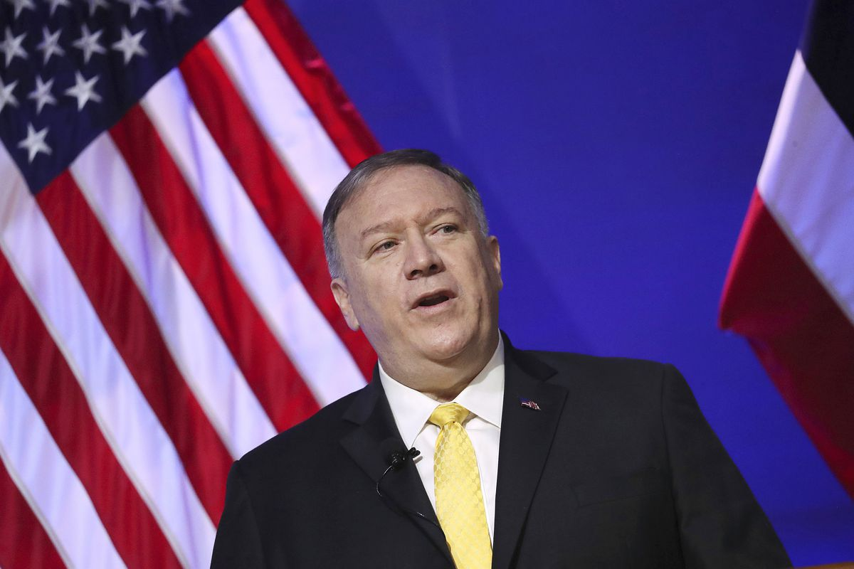 U.S. Secretary of State Mike Pompeo delivers a speech at Siam Society in Bangkok, Thailand Friday, Aug. 2, 2019 on the sidelines of the Association of Southeast Asian Nations (ASEAN) ministerial meetings.