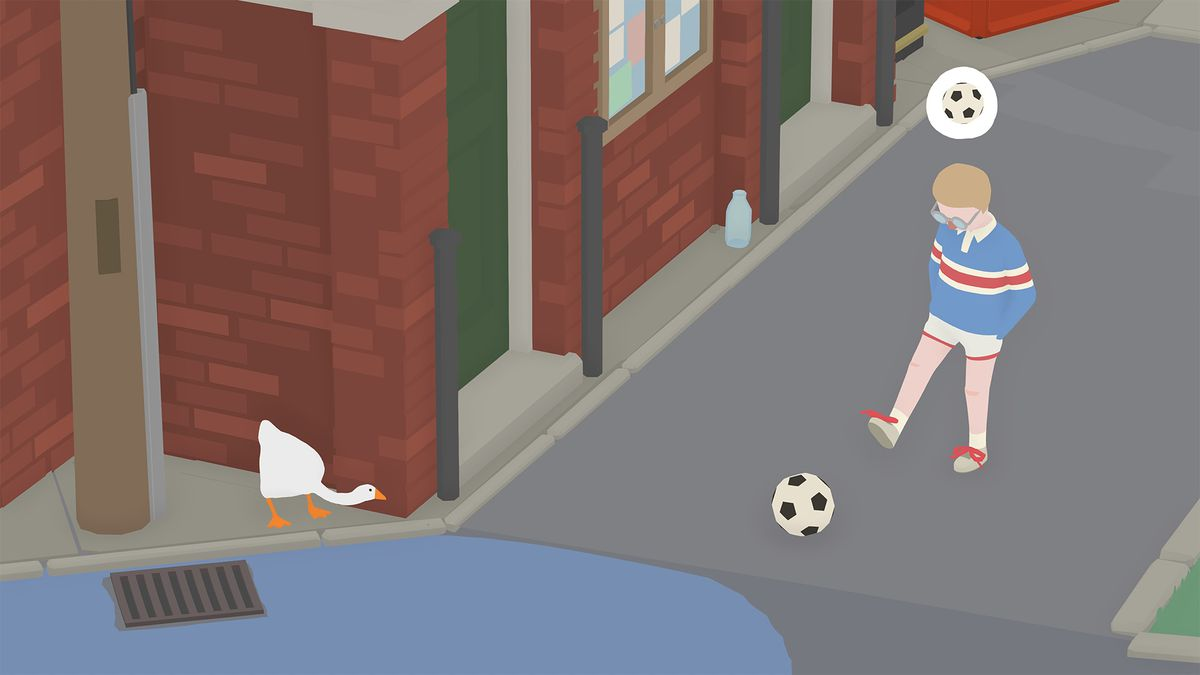 Untitled Goose Game - a child kicks a soccer ball slowly down a street. A goose is waiting to ambush him with honks.